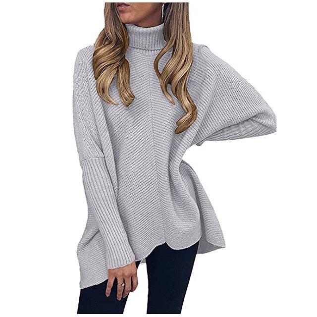 ANRABESS Women's Turtleneck Long Batwing Sleeve Asymmetric Hem Sweater (Grey)