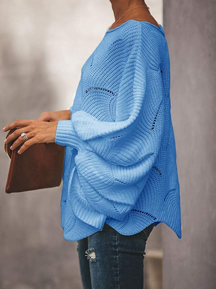 Soulomelody Oversized Batwing Sleeve Pullover Sweater
