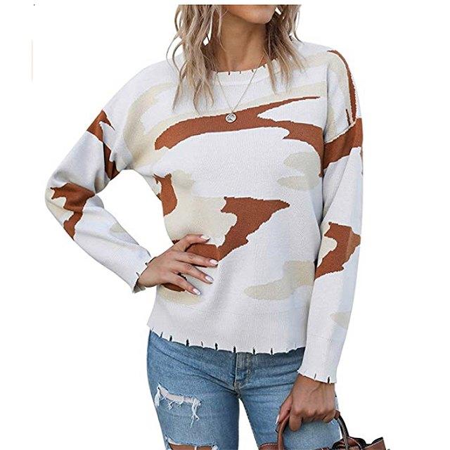 KIRUNDO 2020 Women's Winter Camouflage Printed Knitted Sweater (Apricot)