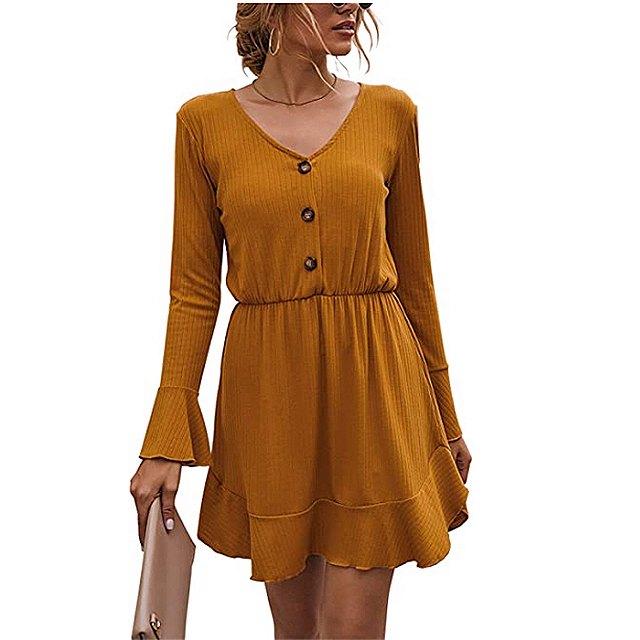 FANVOOK Women's 2020 Long Sleeve Button Down Dress (Yellow)