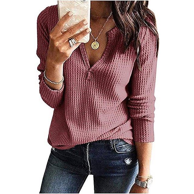Farktop Women's V Neck Waffle Knit Henley Top (Brick Red)