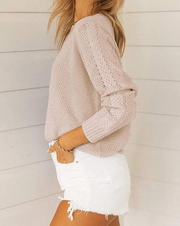 Tutorutor Women's Long Sleeve Crew Neck Crop Sweater