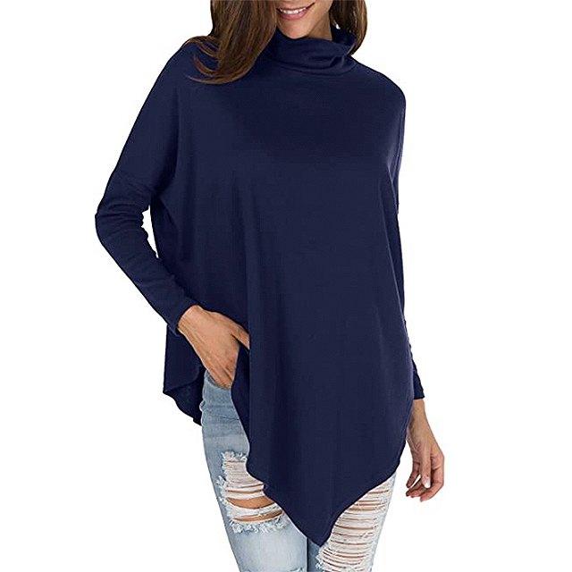 levaca Women's Long Batwing Sleeve Turtleneck Hankerchief Casual Tunic (Deep Blue)