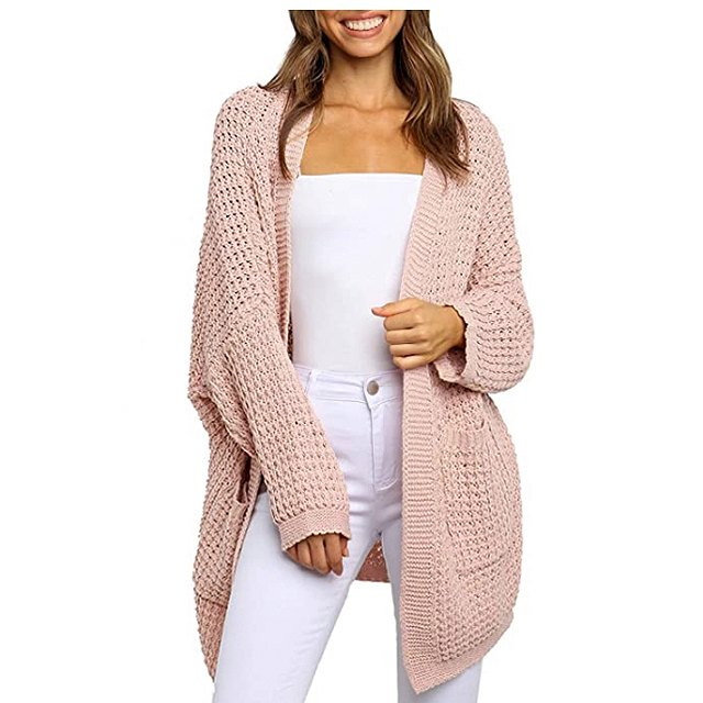 ZESICA Women's Long Batwing Sleeve Open Front Chunky Knit Cardigan (Pink)