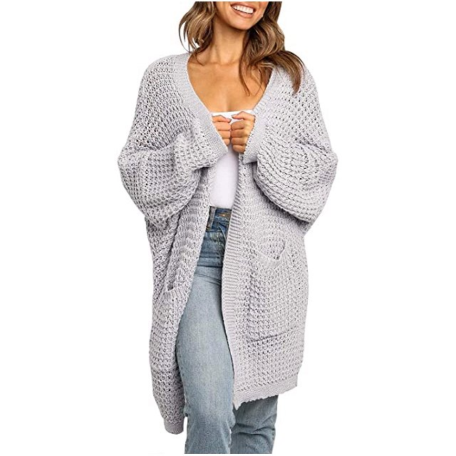 ZESICA Women's Long Batwing Sleeve Open Front Chunky Knit Cardigan (Light Grey)