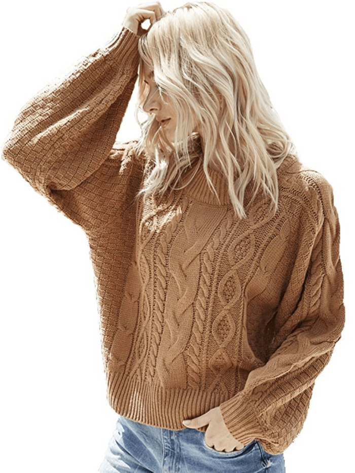 Simplee Women's Oversized Cropped Sweater (Brown)