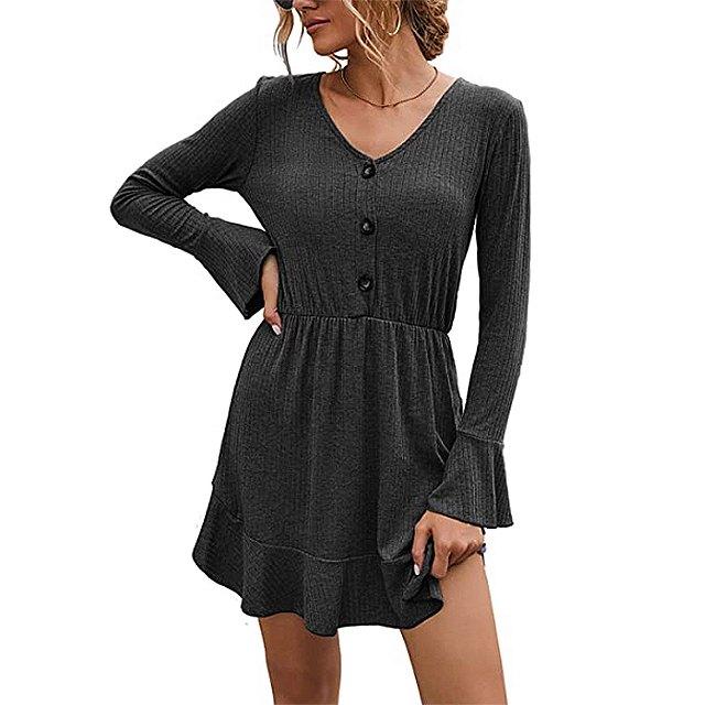 FANVOOK Women's 2020 Long Sleeve Button Down Dress (Black)