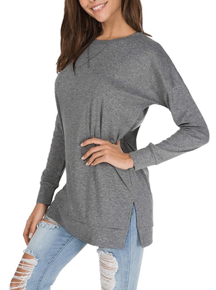 levaca Women's Fall Long Sleeve Side Split Loose Casual Pullover Tunic Top