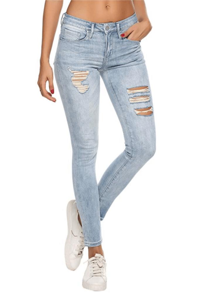Resfeber Women's Ripped Skinny Jeans (Super Light Blue)