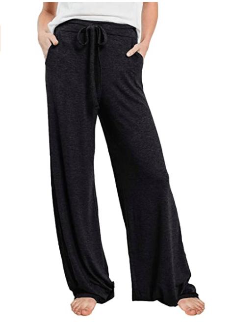 PRETTYGARDEN Women's Casual Drawstring Waist Stretchy Loose Lounge Pants (Black)