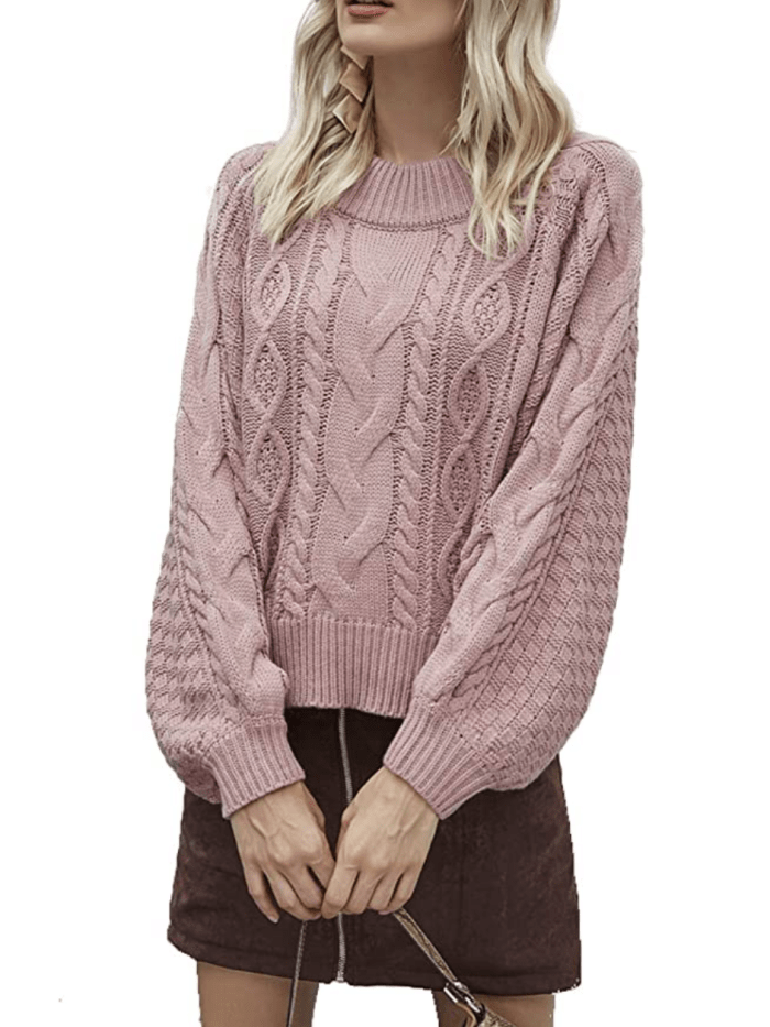 Simplee Women's Oversized Cropped Sweater (Pink)
