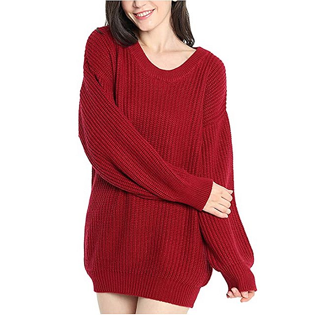 Liny Xin Women's Cashmere Oversized Loose Knitted Crew Neck Sweater (Red)