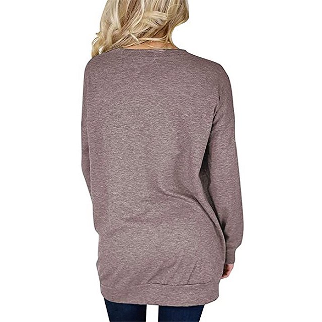 Bingerlily Women's Casual Long Sleeve Tunic Crew Neck Top with Pockets (Brown)