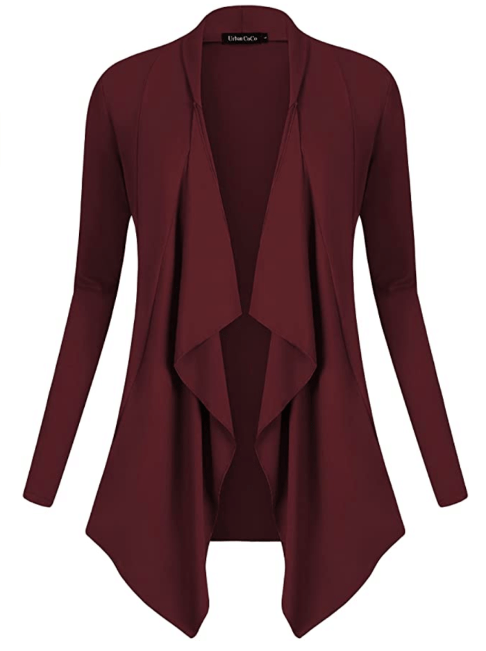 Urban CoCo Women's Drape Front Open Cardigan Long Sleeve Irregular Hem (Windsor Wine)