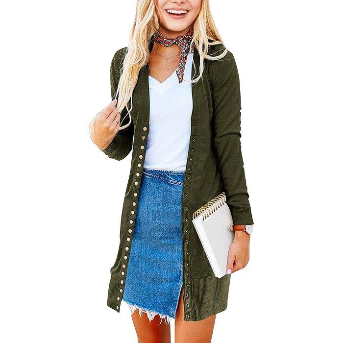 MEROKEETY Long Sleeve Snap Button Knit Cardigan
