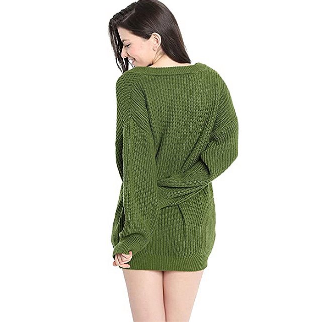 Liny Xin Women's Cashmere Oversized Loose Knitted Crew Neck Sweater (Army Green)