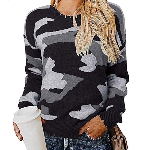 KIRUNDO 2020 Women's Winter Camouflage Printed Knitted Sweater (Black)
