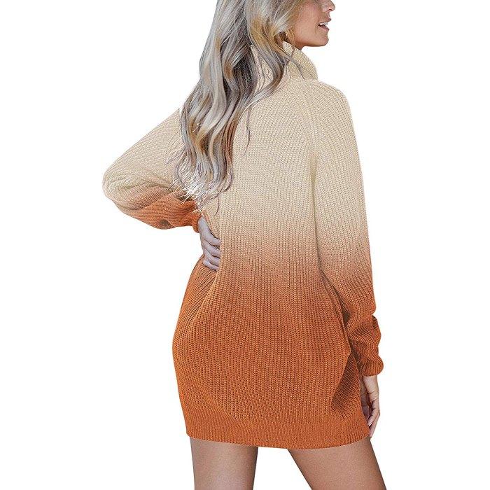Pink Queen Loose Oversize Turtleneck Sweater Dress