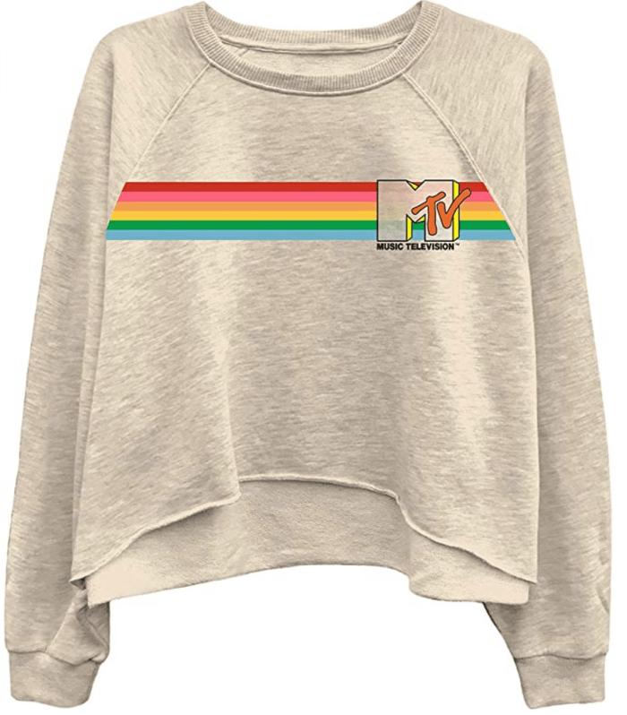 MTV Ladies Long Sleeve Shirt - I Want My Logo Oversized Raglan Fleece
