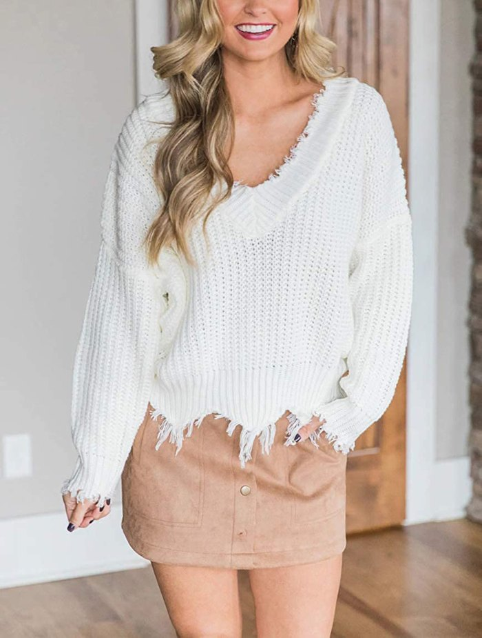 LEANI Loose Knit Ripped Sweater