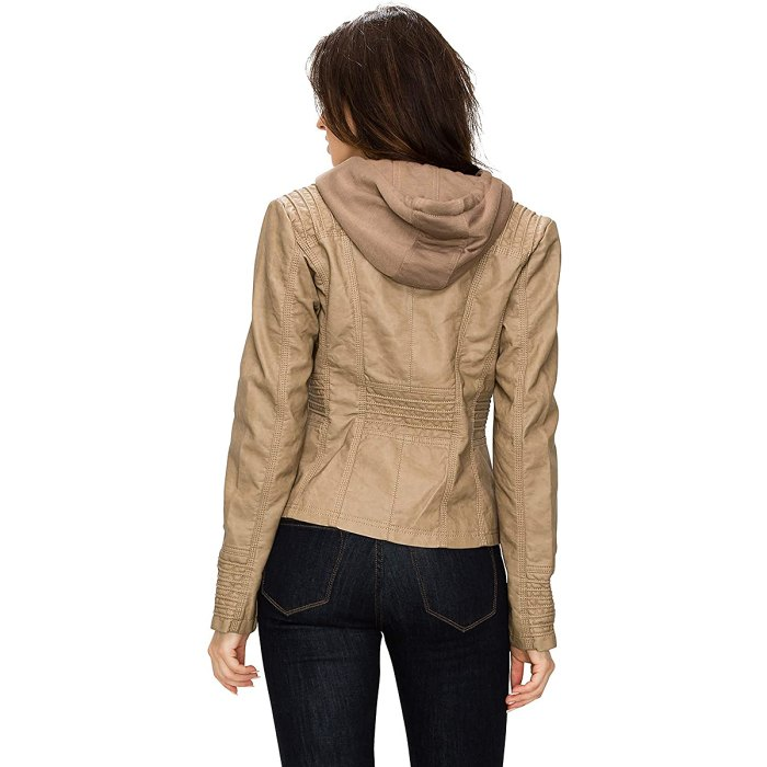 Lock and Love Removable Hood Faux-Leather Moto Biker Jacket