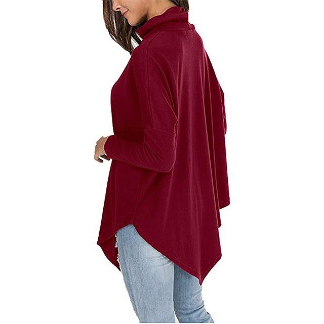 levaca Women's Long Batwing Sleeve Turtleneck Hankerchief Casual Tunic (Wine)