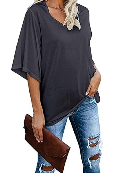 cordat Women's Blouse Tops Loose V Neck 3/4 Bell Sleeve Shirt (Dark Grey)