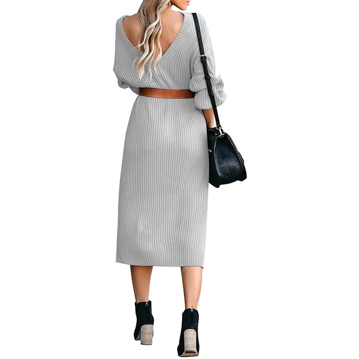 ACKKIA Ribbed Knit Sweater Midi Dress