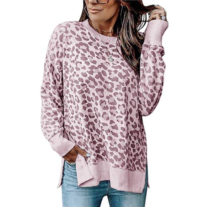 Angashion Casual Leopard Crewneck Tunic Sweatshirt Top