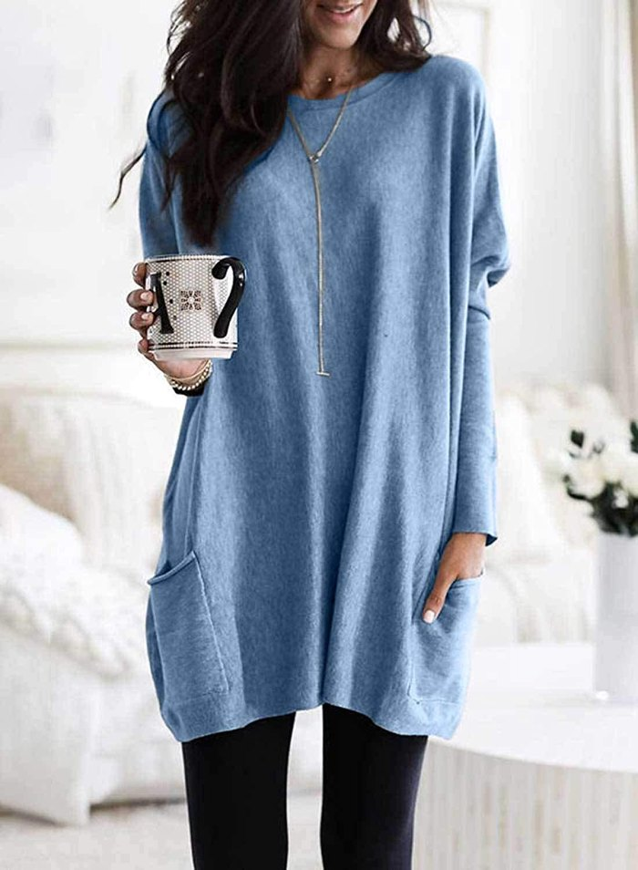 Asvivid Long Sleeve Crew Neck Tunic Top