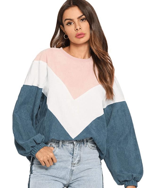 Romwe Women's Loose Colorblock Sweatshirt