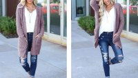 MEROKEETY Long-Sleeve Soft Knit Cardigan