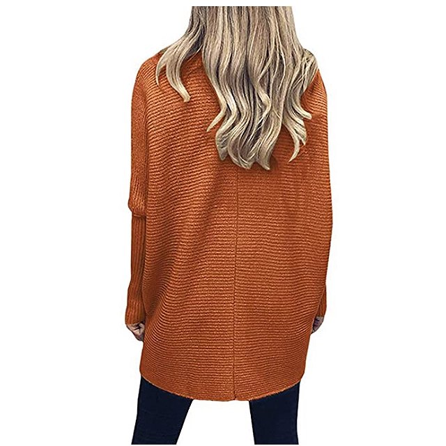 ANRABESS Women's Turtleneck Long Batwing Sleeve Asymmetric Hem Sweater (Orange Rust)