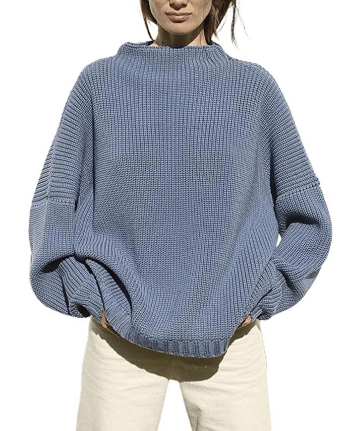 Ugerlov Women's Oversized Batwing Sleeve Mock Neck Sweater