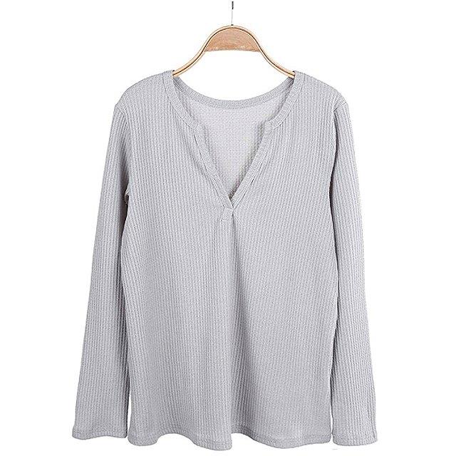 Farktop Women's V Neck Waffle Knit Henley Top (Grey)