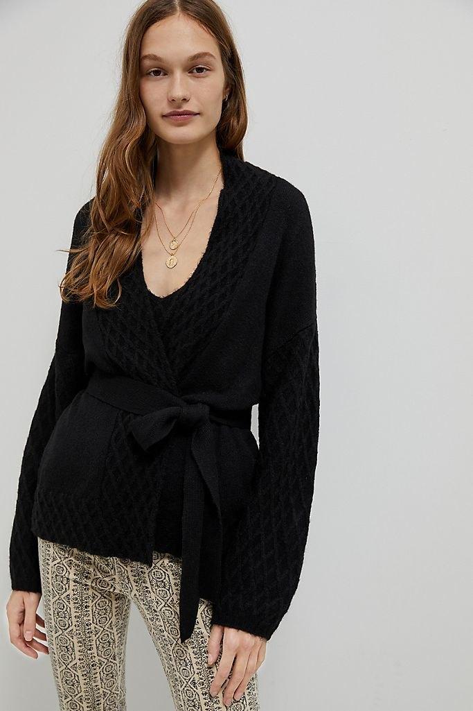 Fenna Textured Knit Wrap Cardigan