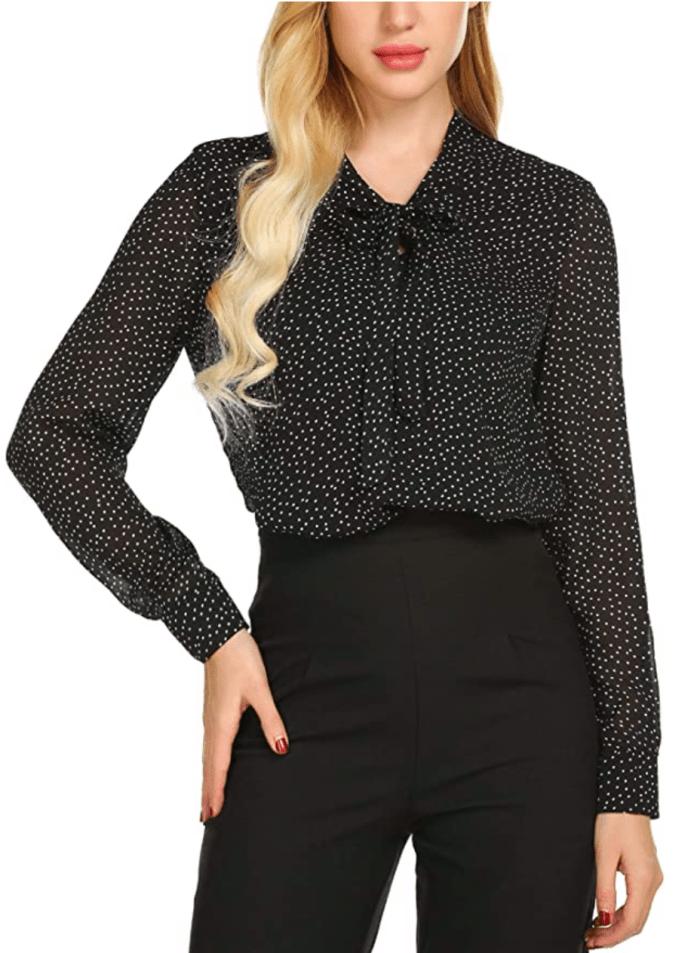 ACEVOG Women's Bow Tie Neck Long/Short Sleeve Casual Office Work Chiffon Blouse
