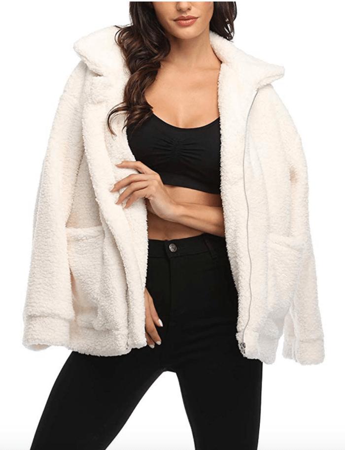 EZIGO Women's Fuzzy Fleece Sherpa Jacket