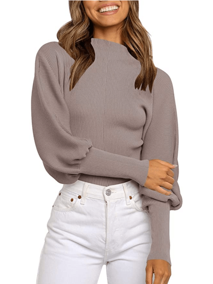 Calbetty Women's Turtleneck Batwing Sleeve Knitted Pullover Top