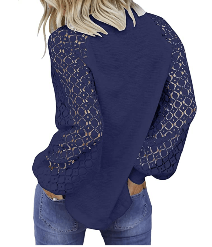 MIHOLL Women's Long Sleeve Tops Lace Casual Loose Blouse