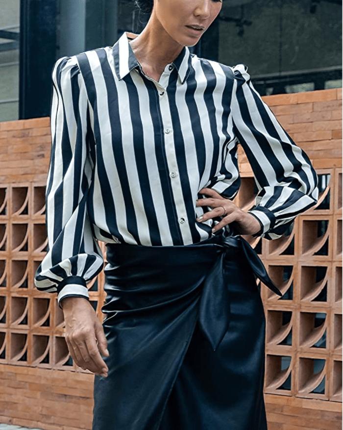 The Drop Women's Black/White Stripe Button-Down Shirt