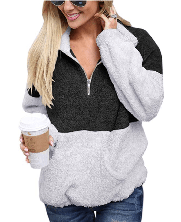Angashion Womens Fuzzy Fleece Pullover