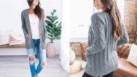 MEROKEETY Women's Long Sleeve Cable Knit Sweater