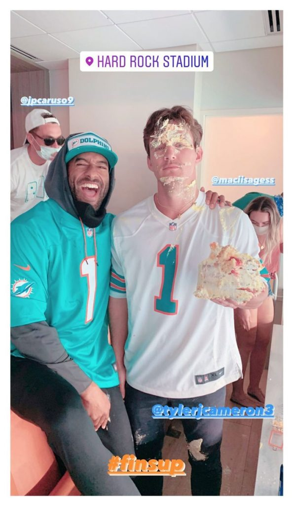 Matt James Smashes a Cake in Tyler Cameron Face After They Reunite at Dolphins Game