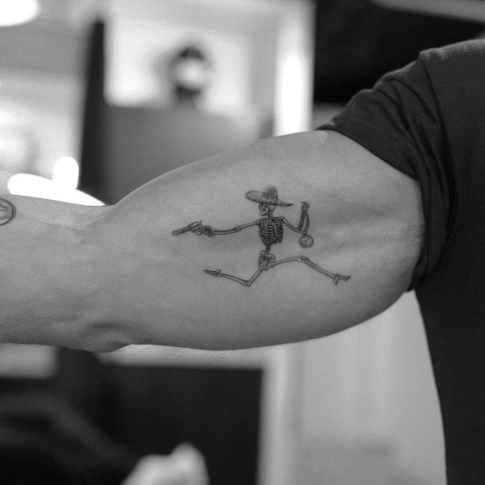 Mark Consuelos Celeb Tattoos New Bicep Skeleton