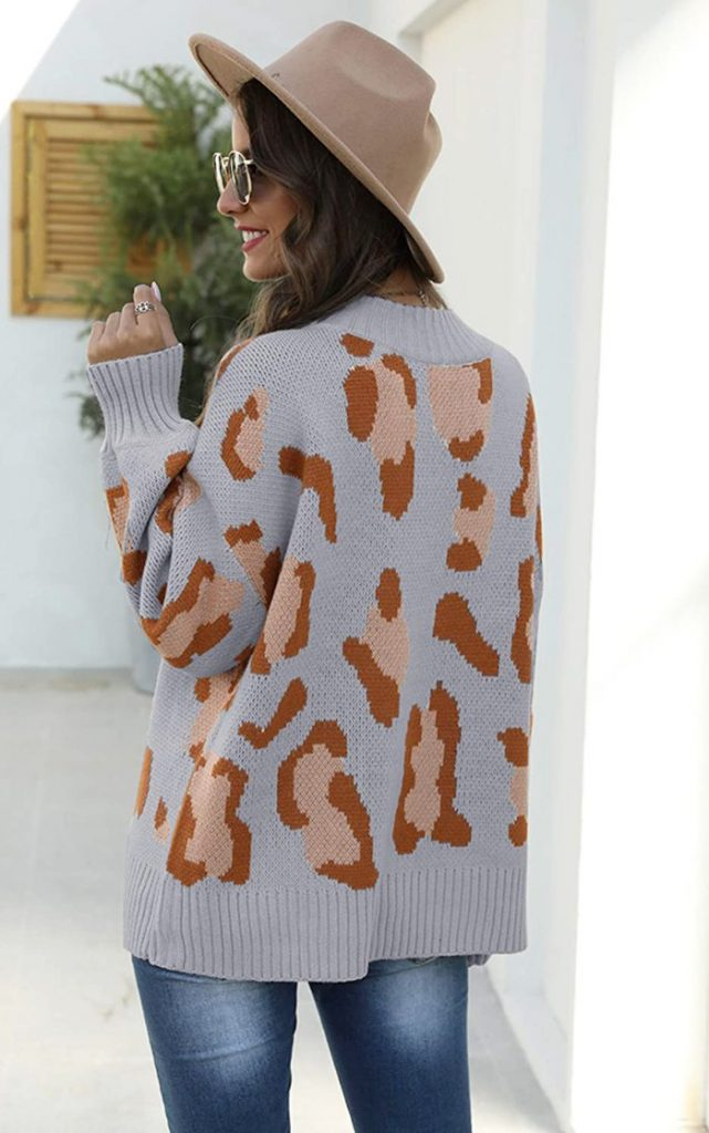 Angashion Casual Oversized Leopard Pullover Sweater