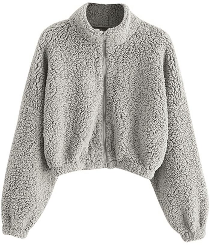 ZAFUL Women's Faux Fur Fuzzy Coat Full Zip Drop Shoulder Jacket