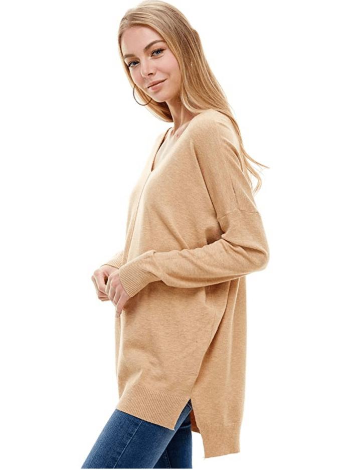 Alexander + David Women's Oversized Extra Soft V-Neck Pullover Sweater