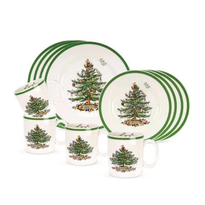 Spode Christmas Tree 12 Piece Dinnerware Set, Service for 4