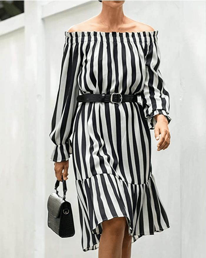 The Drop Women's Black/White Stripe Off-Shoulder Long-Sleeve Ruffle-Hem Midi Dress